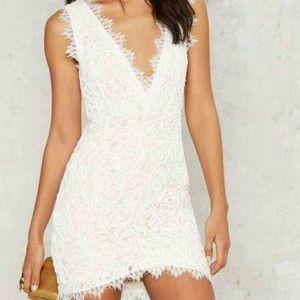 White Embroidered Lace Mini Dress